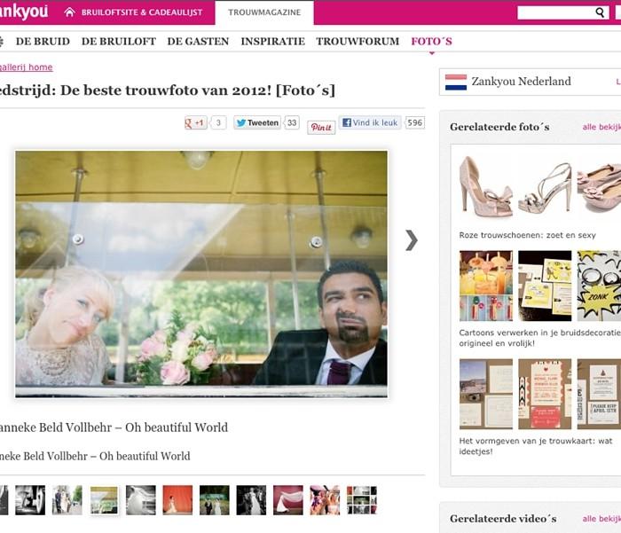 Genomineerd voor beste trouwfoto van 2012 door Zankyou!